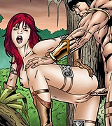 Warrior fucks a sexy chick in the jungle