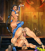 Sexy female wrestlers from Mortal Kombat take over men and torture them