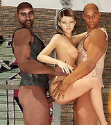 Hot gruopie with two black guys