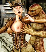 Steam punk goddess fucked by a reptile, two black cocks in one hot babe, beast fuck beauties.