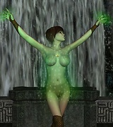 Bewitching naked elf girl posing in front of the rough stone wall.