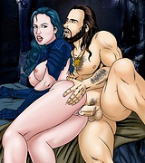 Medieval sex - babe's wet cunt penetrated in dark woods