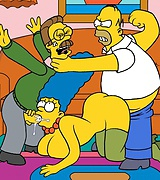 Homer Simpson and another guy fucks his wife Marge