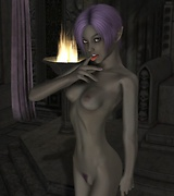 Slender 3D babe with short purple hair wants sex and gets undressed. Gentle elf princess wants to taste your cock.