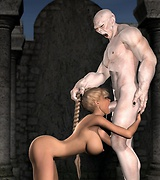 Blonde fucked by a monster in crypt