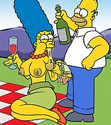 Hot milf marge exposes her big breast outdoors. Homer stuffs her cunt with his hard shaft.