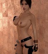 Tomb Raider porn Lara Croft in hoody exposing her tits