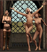 Two girls are spanking a hot woman in front of the gothic window.