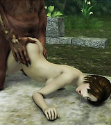 Sexy blue-haired elf with gorgeous body gives blowjob to two men. Sexy Lara Croft caught and fucked by huge horrible monsters.