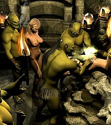 Group sex with orcs and humongous cock