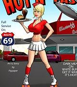Tasty waitress who has a super hot body loves to taste black cock.
