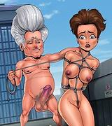 Superheros get a submissive slavegirl Roxanne Ritchi to drain their super balls
