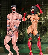 Rough femdom sex show from a bunch of dommes from Mortal Kombat