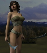 Hottest warrior girls posing with swords in front of the mountains and ancient ruins.