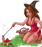 Red-haired witch using magic to satisfy herself